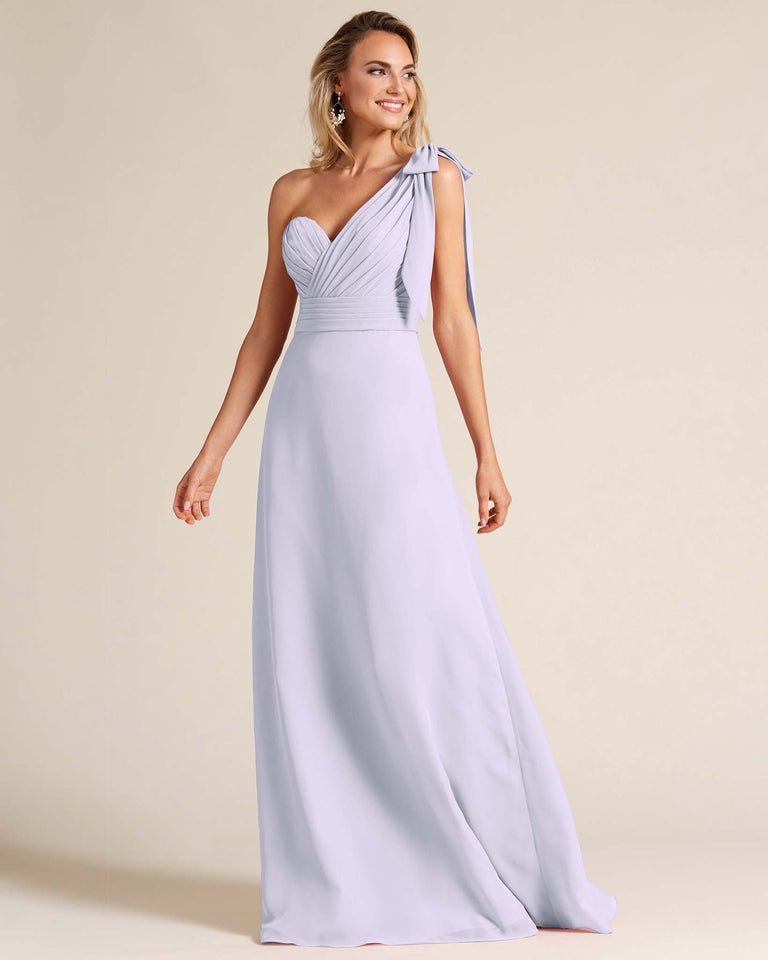 Lilac One Shoulder Ruched Formal Gown