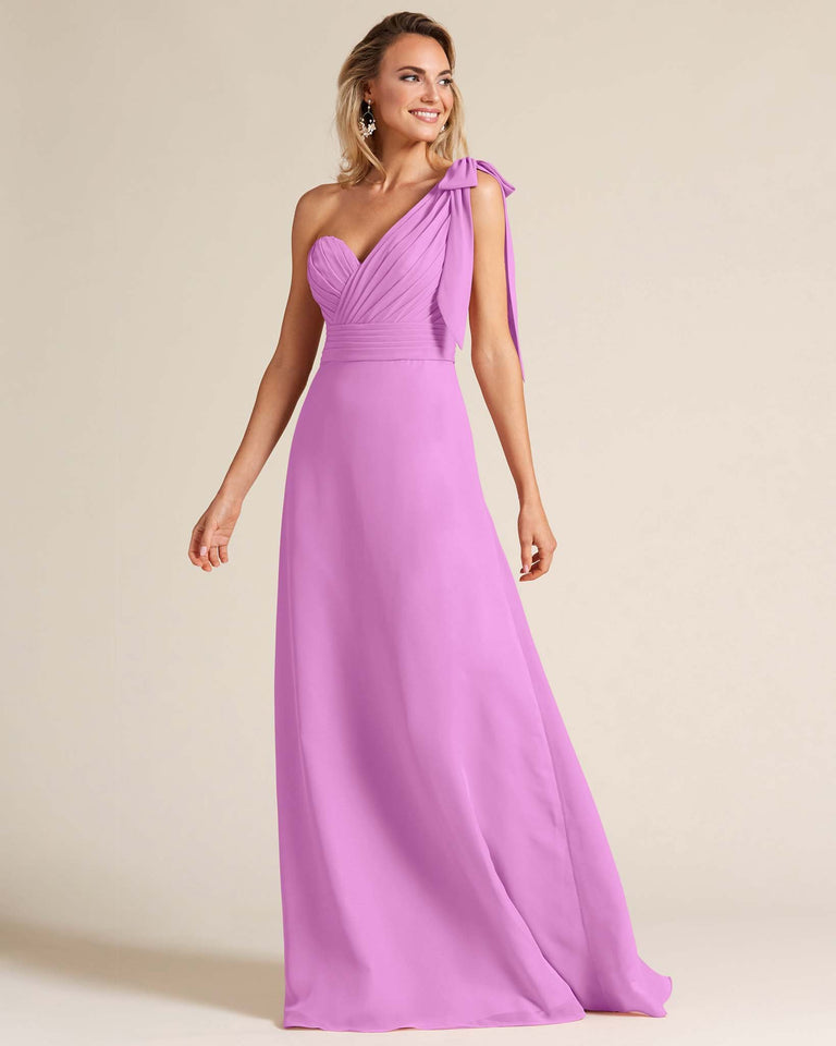Purple One Shoulder Ruched Formal Gown