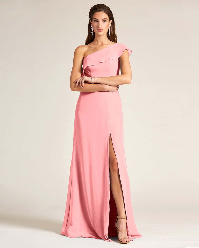 Candy Pink One Shoulder Flounce Top Dress