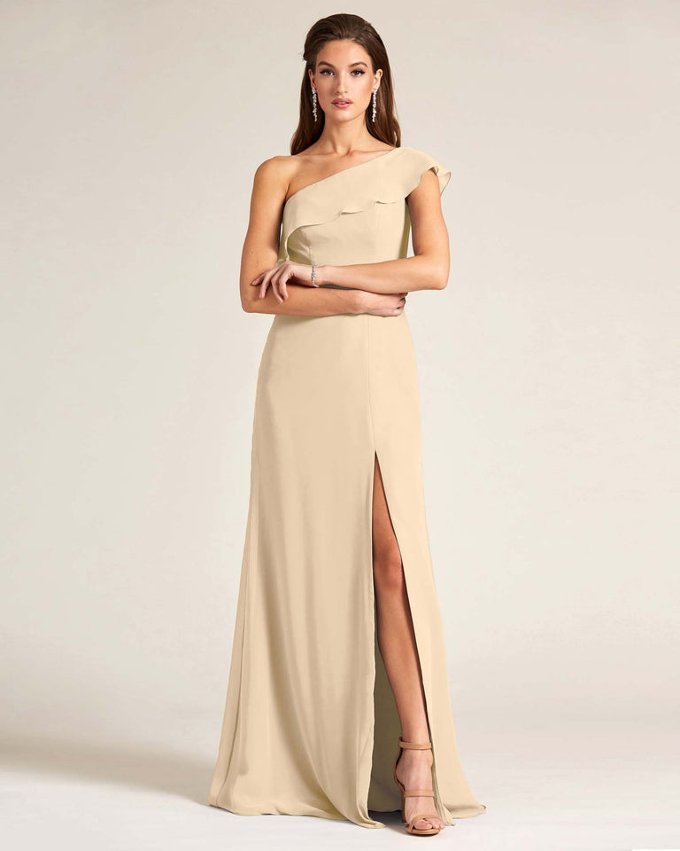 Champagne One Shoulder Flounce Top Dress