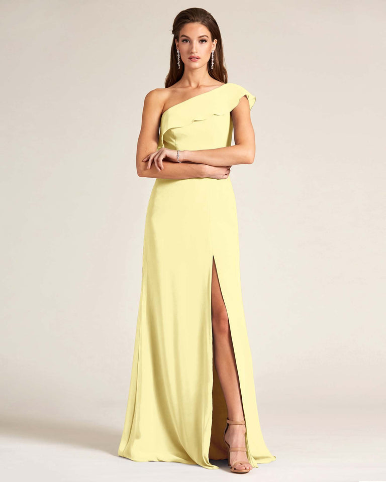 Daffodil One Shoulder Flounce Top Dress