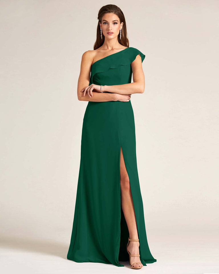 Dark Green One Shoulder Flounce Top Dress