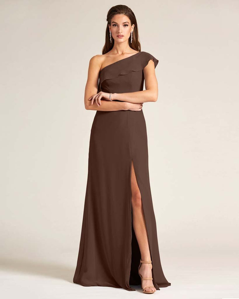 Chocolate One Shoulder Flounce Top Dress