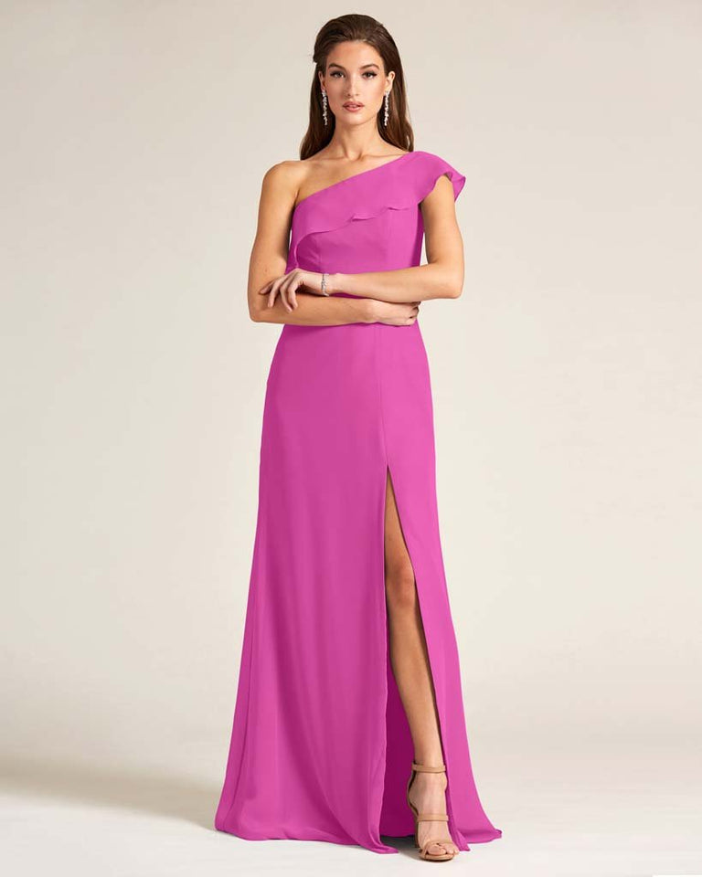 Fuchsia One Shoulder Flounce Top Dress