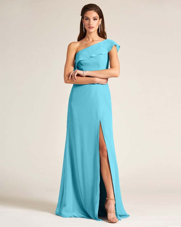 Pool One Shoulder Flounce Top Dress