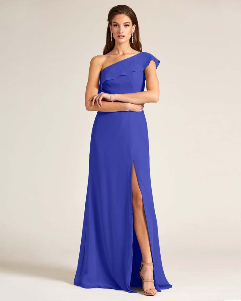 Royal Blue One Shoulder Flounce Top Dress