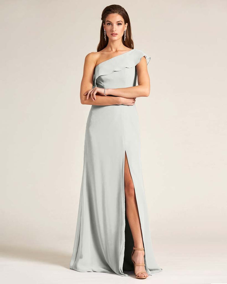 Silver One Shoulder Flounce Top Dress
