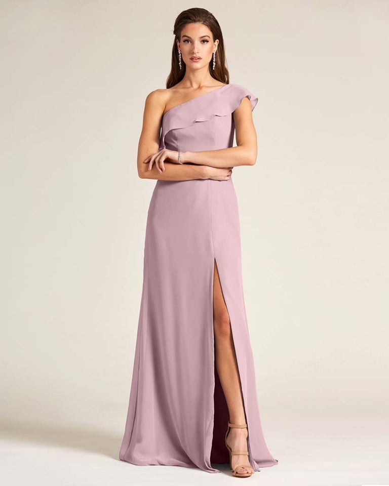 Vintage Mauve One Shoulder Flounce Top Dress