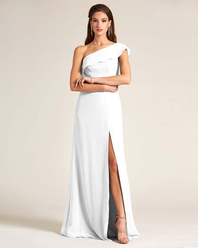 White One Shoulder Flounce Top Dress