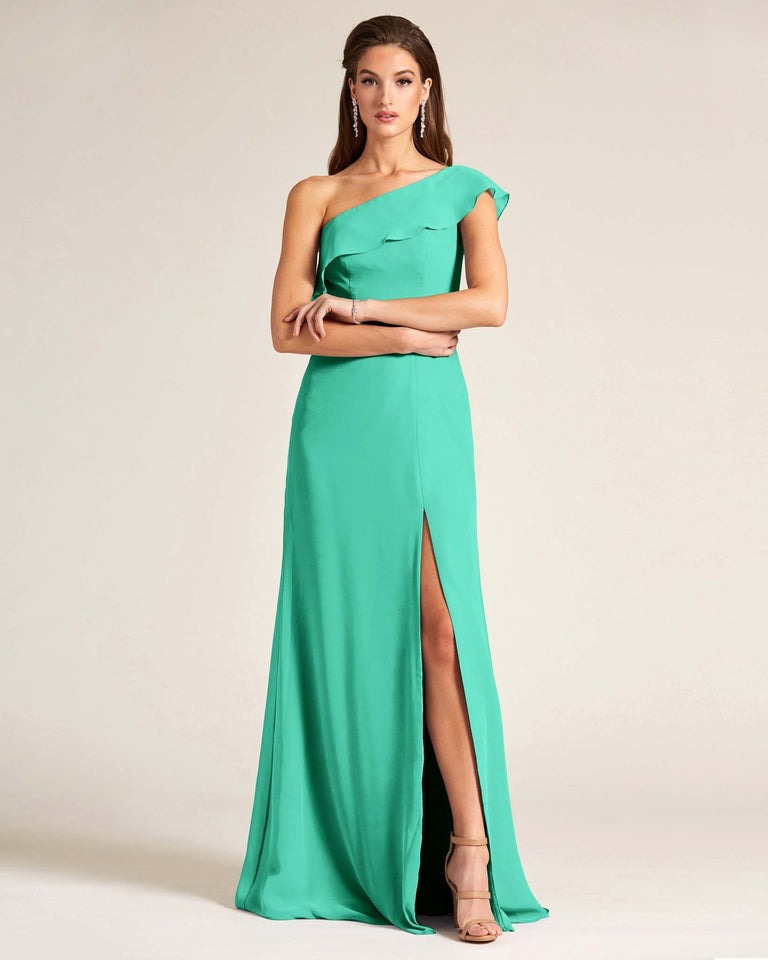 Turquoise One Shoulder Flounce Top Dress