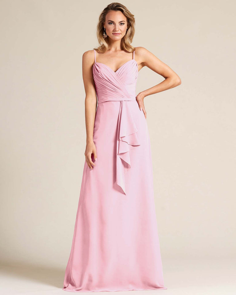 Cherry Blossom Sleeveless Ruched Style Evening Gown