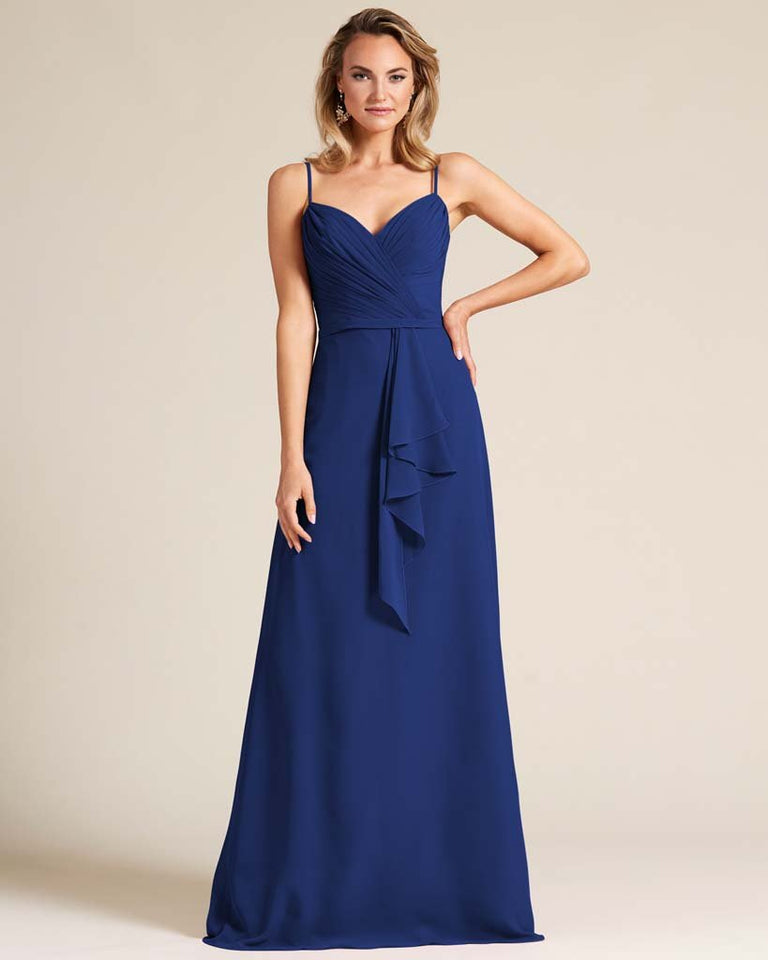 Dark Navy Sleeveless Ruched Style Evening Gown