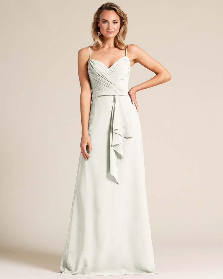 Ivory Sleeveless Ruched Style Evening Gown