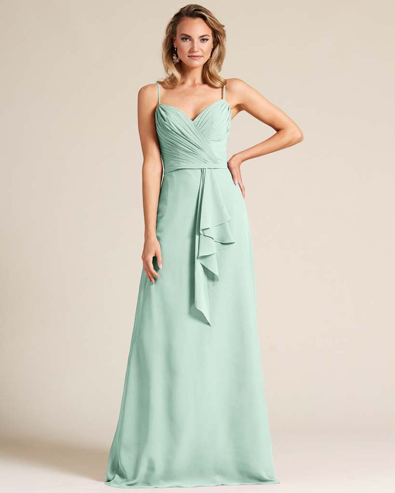 Mint Green Sleeveless Ruched Style Evening Gown
