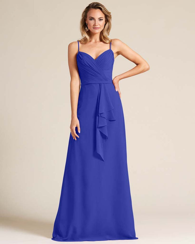 Royal Blue Sleeveless Ruched Style Evening Gown