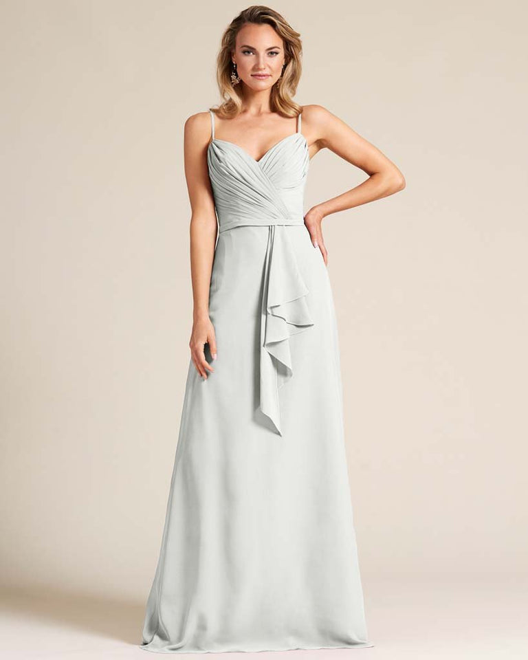 Silver Sleeveless Ruched Style Evening Gown