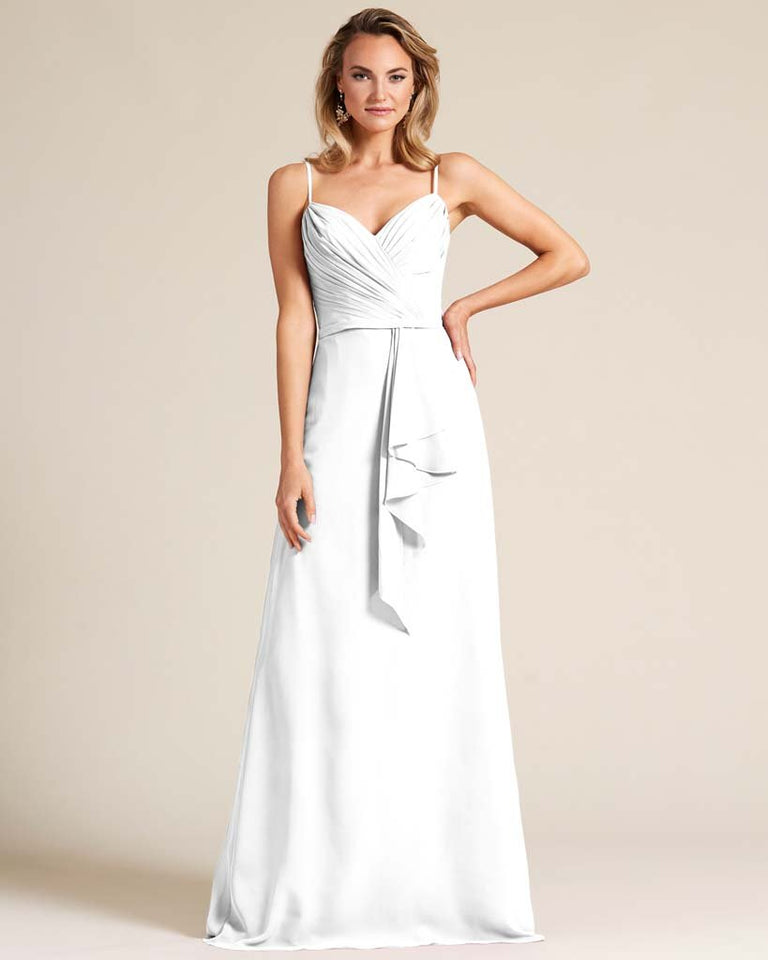 White Sleeveless Ruched Style Evening Gown