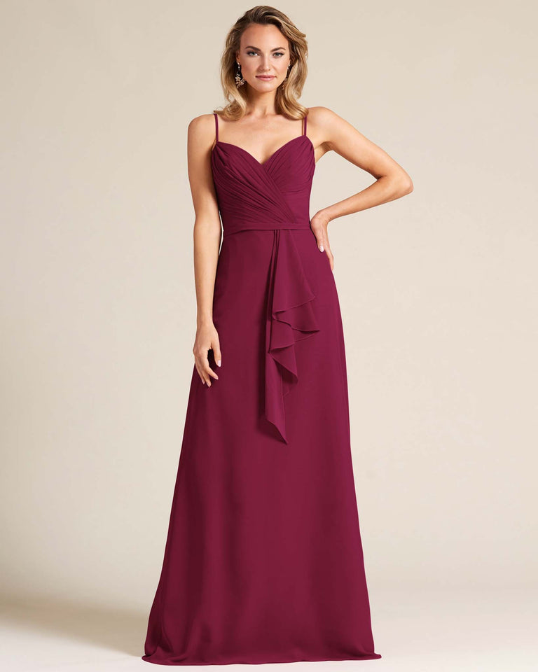 Grape Sleeveless Ruched Style Evening Gown