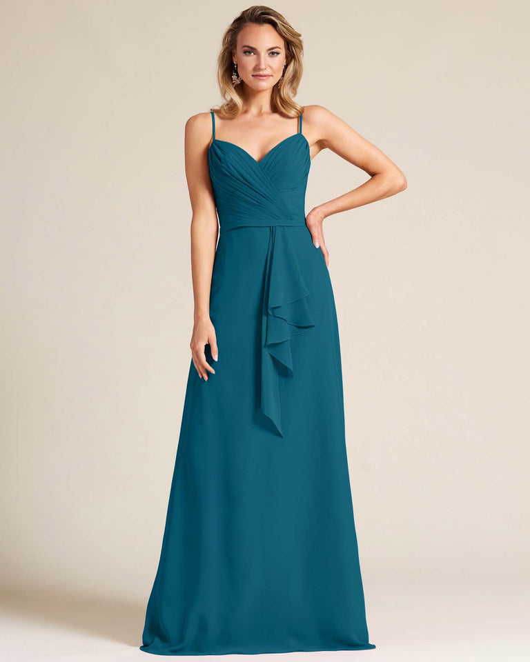 Ink Blue Sleeveless Ruched Style Evening Gown