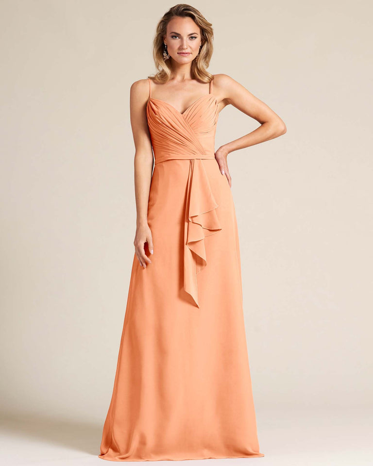 Papaya Sleeveless Ruched Style Evening Gown