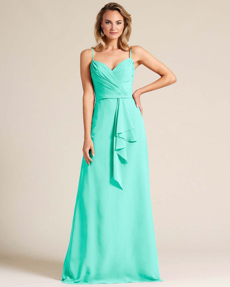 Spa Sleeveless Ruched Style Evening Gown
