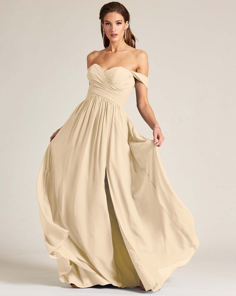 Champagne Off Shoulder Sweetheart Neckline Dress