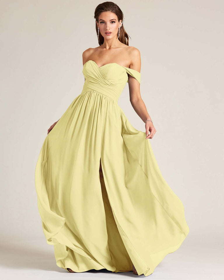 Daffodil Off Shoulder Sweetheart Neckline Dress