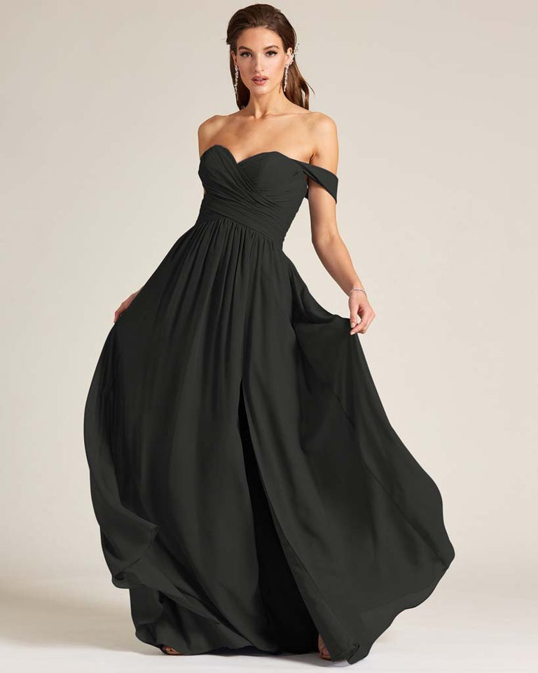 Black Off Shoulder Sweetheart Neckline Dress
