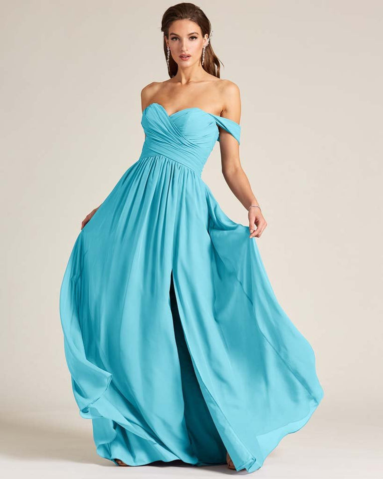Pool Off Shoulder Sweetheart Neckline Dress
