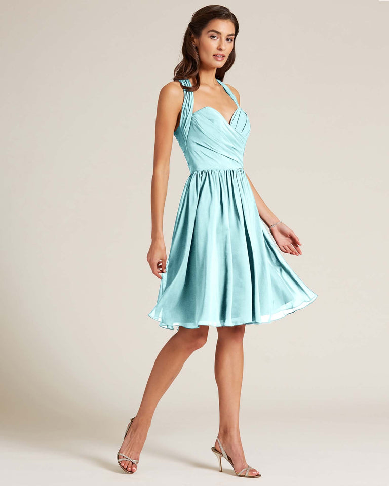 Blue Glow Halter Top Ruched Mini Dress