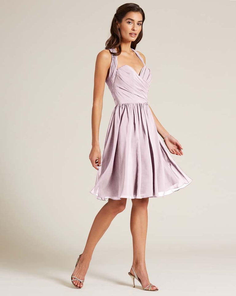Blushing Pink Halter Top Ruched Mini Dress