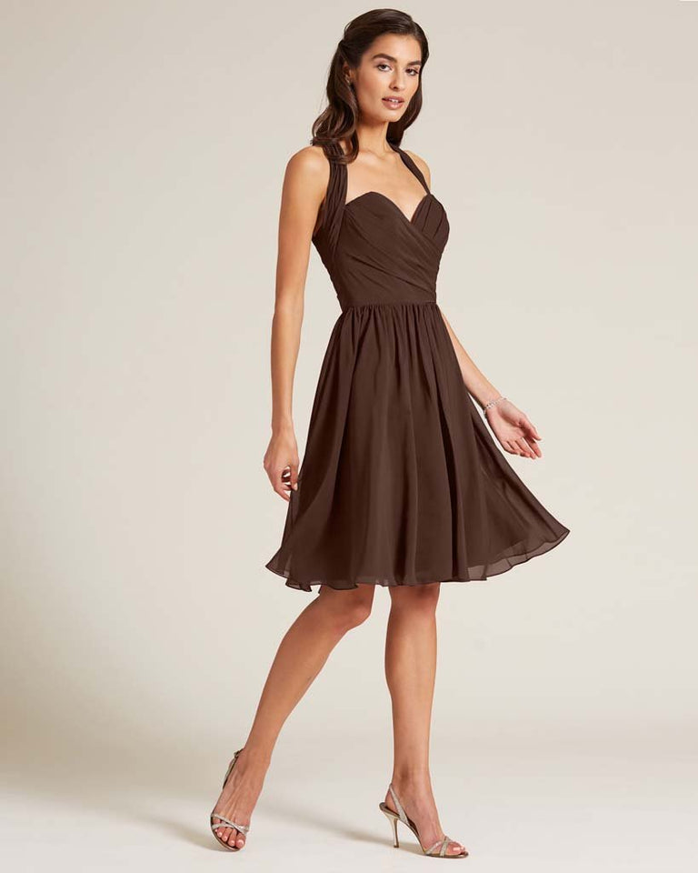 Chocolate Halter Top Ruched Mini Dress