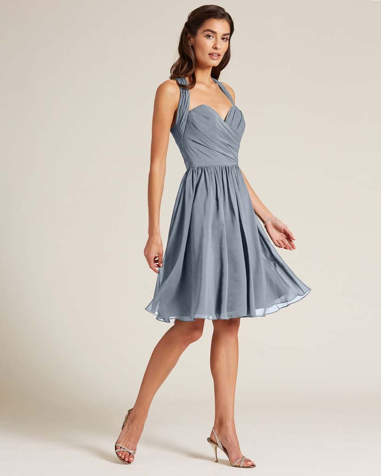 Dusty Blue Halter Top Ruched Mini Dress