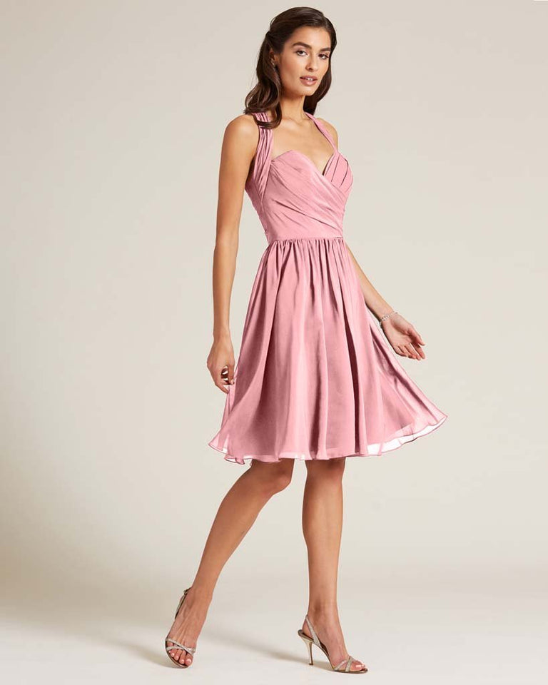 Flamingo Pink Halter Top Ruched Mini Dress