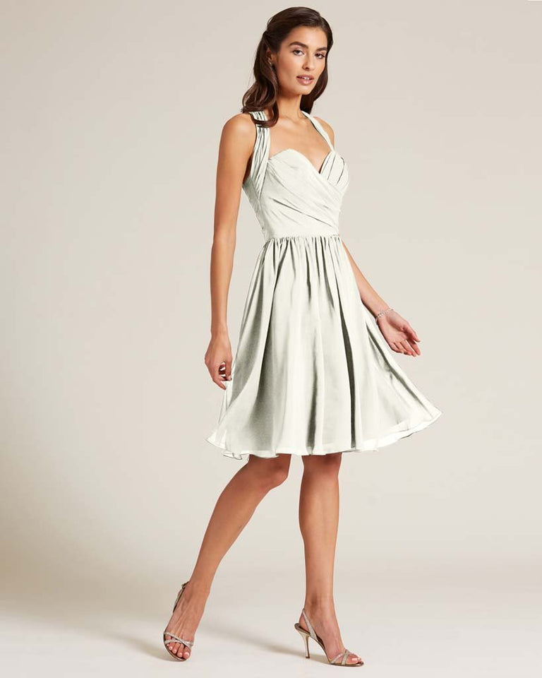 Ivory Halter Top Ruched Mini Dress