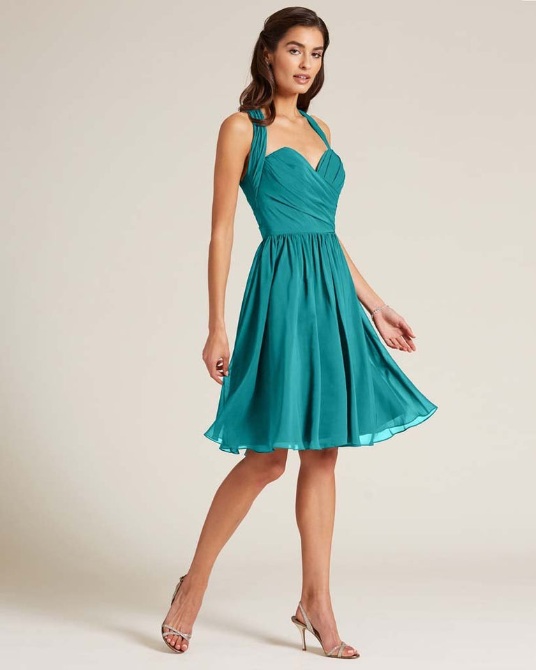 Jade Halter Top Ruched Mini Dress