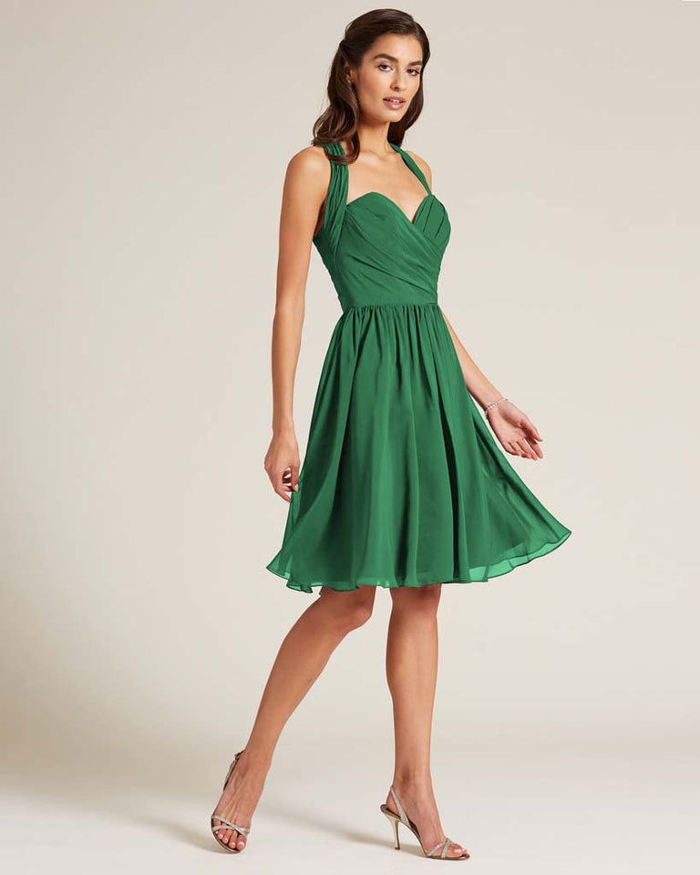 Jolly Green Halter Top Ruched Mini Dress