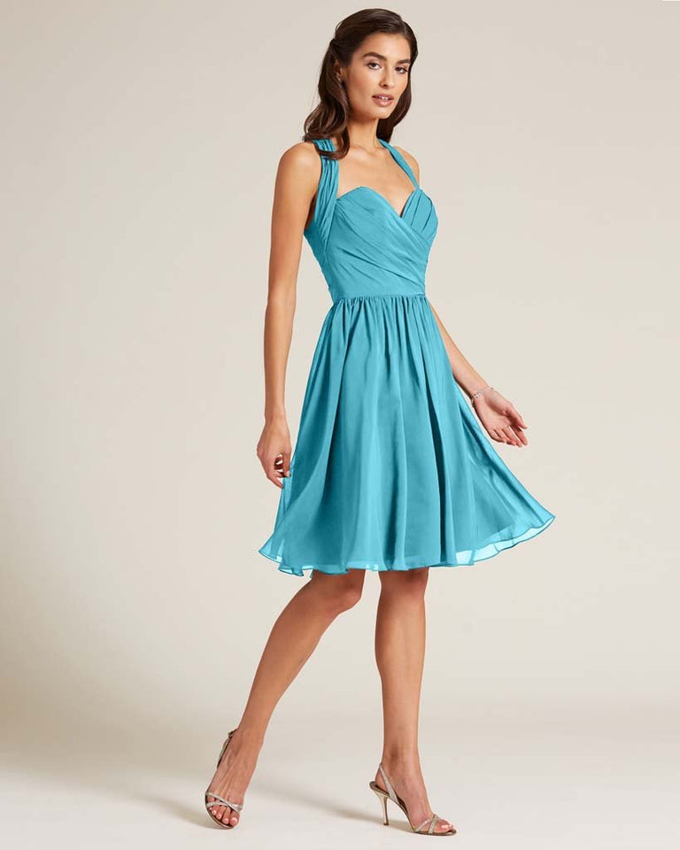 Pool Halter Top Ruched Mini Dress