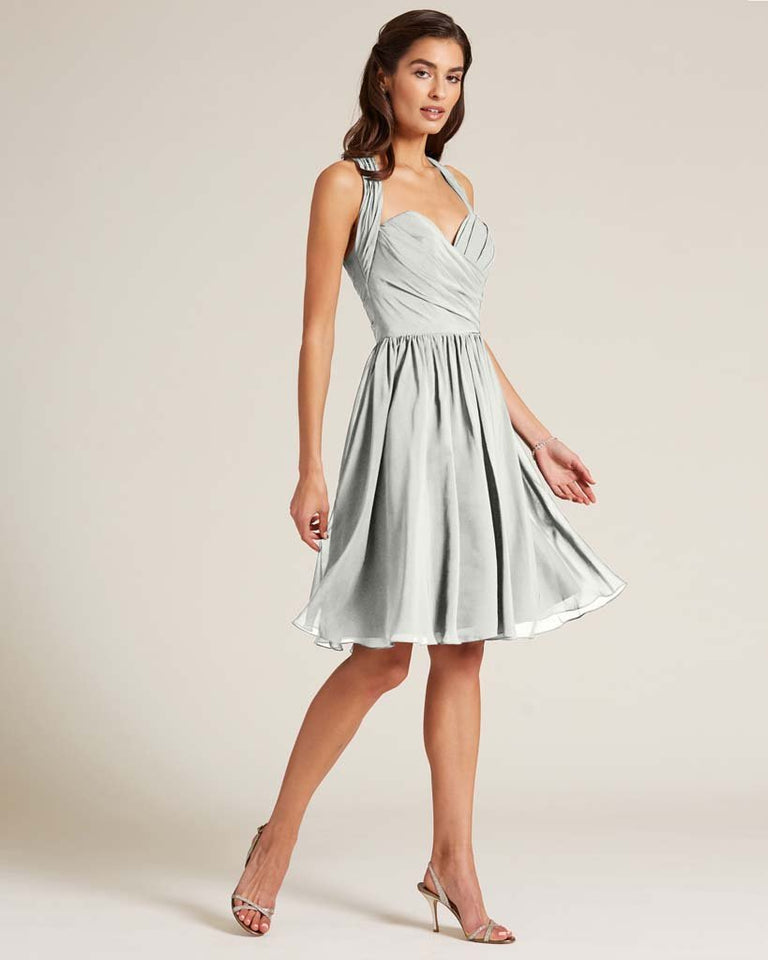 Silver Halter Top Ruched Mini Dress