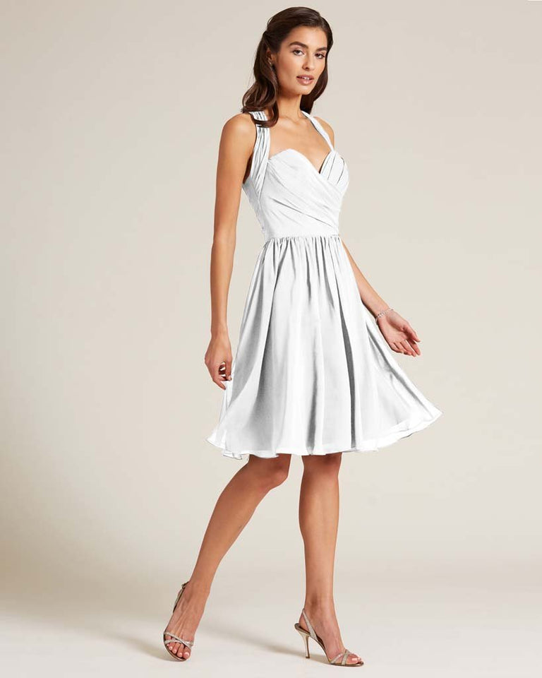 White Halter Top Ruched Mini Dress