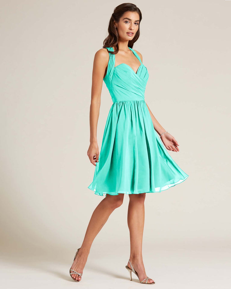 Spa Halter Top Ruched Mini Dress