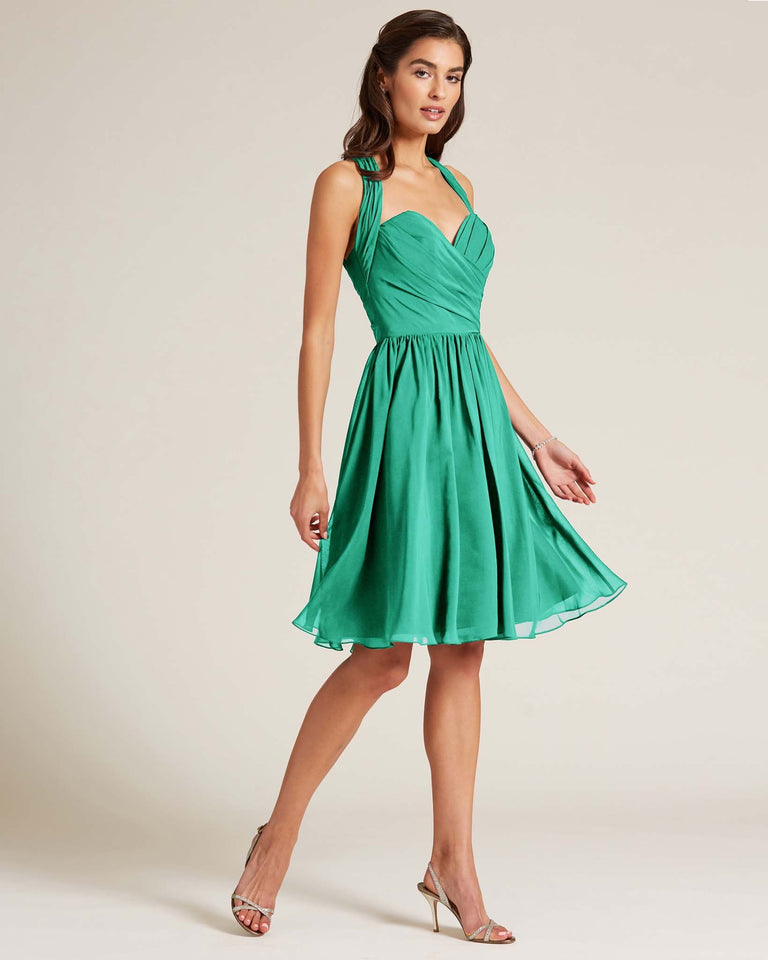 Turquoise Halter Top Ruched Mini Dress