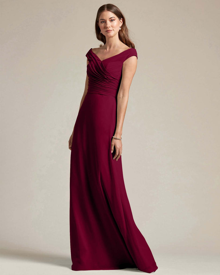 Burgundy Off The Shoulder Ruched Top With Long Skirt Bridesmaid Gown