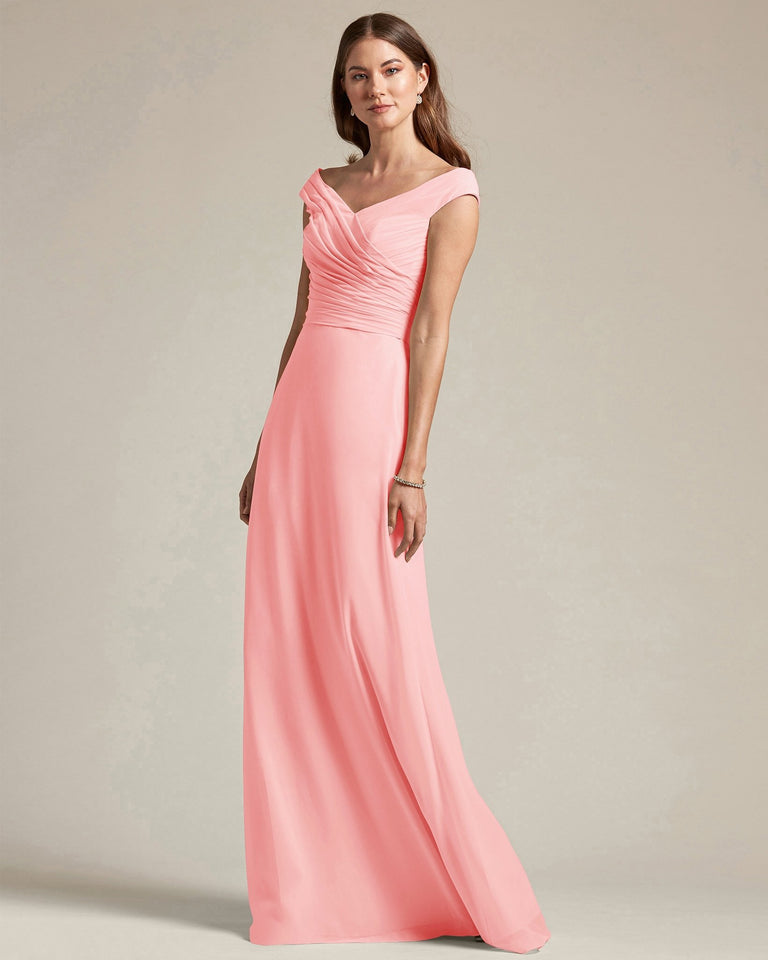 Candy Pink Off The Shoulder Ruched Top With Long Skirt Bridesmaid Gown