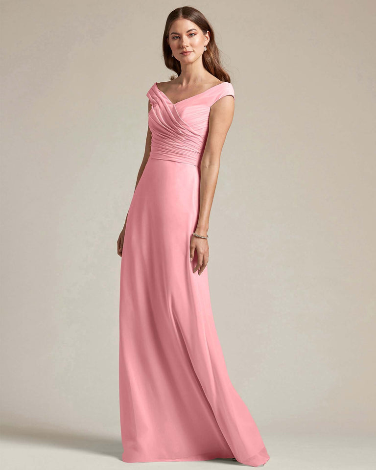 Flamingo Pink Off The Shoulder Ruched Top With Long Skirt Bridesmaid Gown