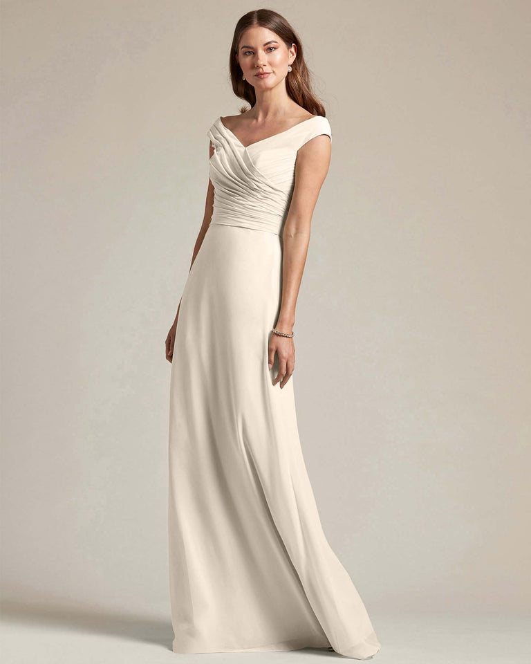 Frost Off The Shoulder Ruched Top With Long Skirt Bridesmaid Gown
