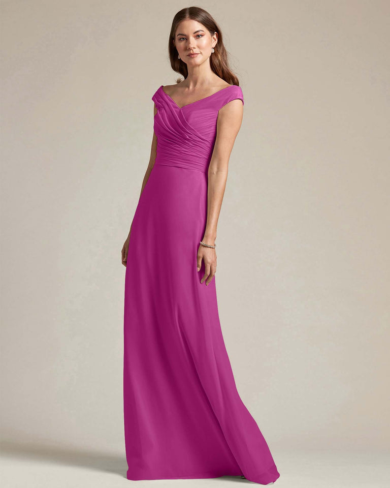 Fuchsia Off The Shoulder Ruched Top With Long Skirt Bridesmaid Gown