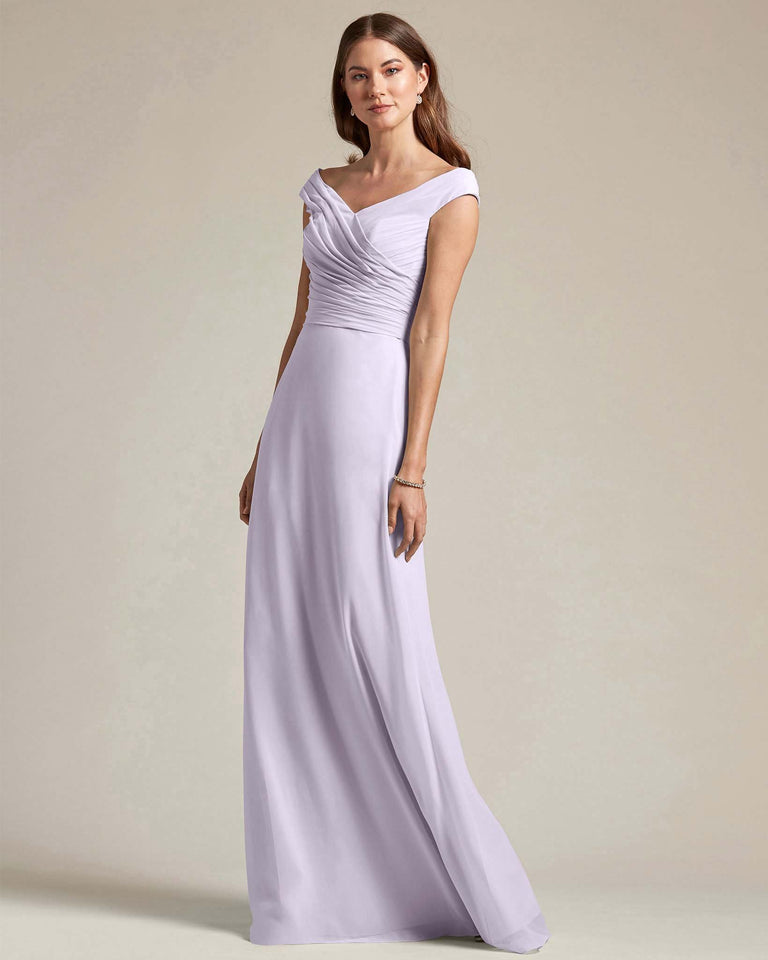 Lilac Off The Shoulder Ruched Top With Long Skirt Bridesmaid Gown