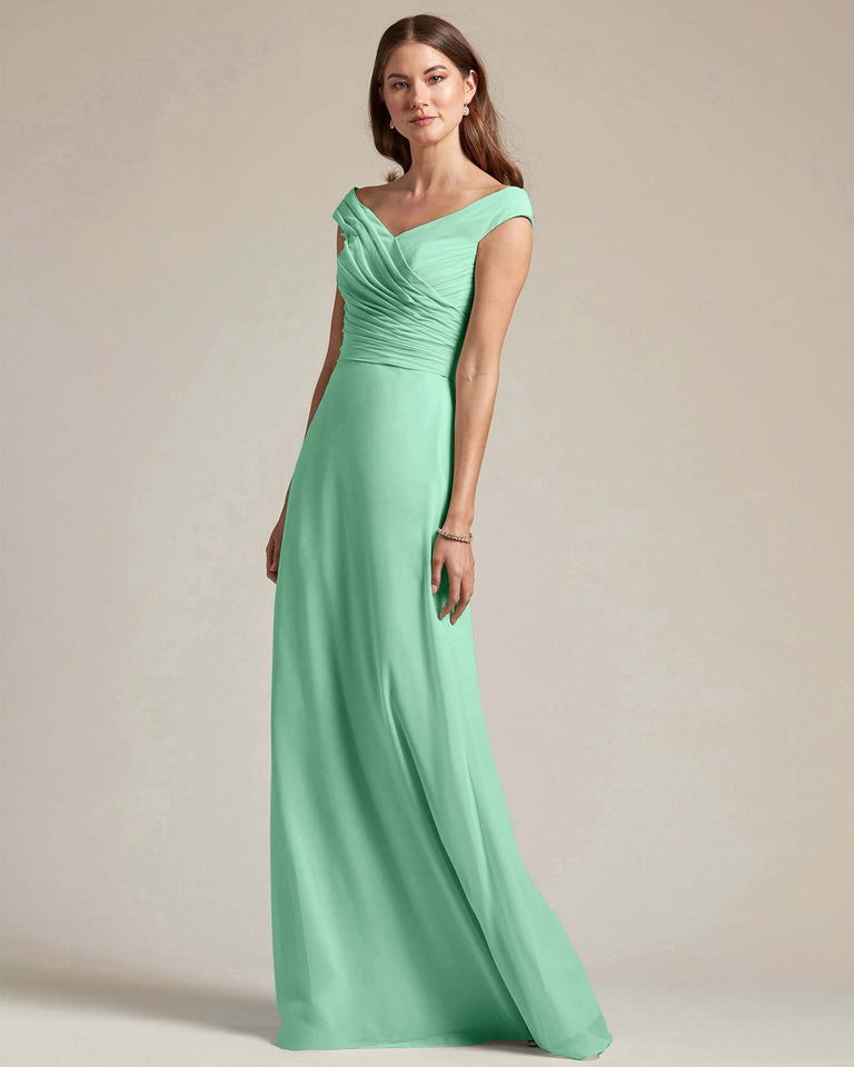 Mint Green Off The Shoulder Ruched Top With Long Skirt Bridesmaid Gown