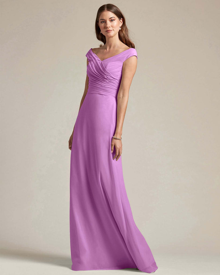 Purple Off The Shoulder Ruched Top With Long Skirt Bridesmaid Gown